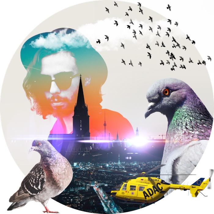 Collage: Mann mit Bart und Brille, Tauben, Helikopter