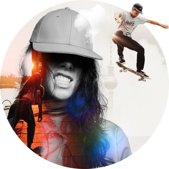 "Collage: Frau mit baseballcap; ""fliegender"" skater"