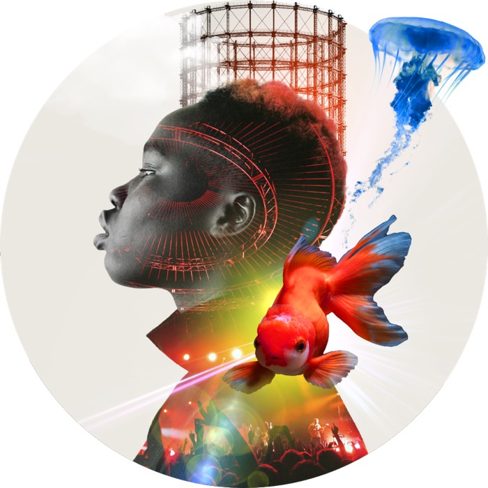 Collage: junger mann von der seite, alter wasserturm, bunte farben