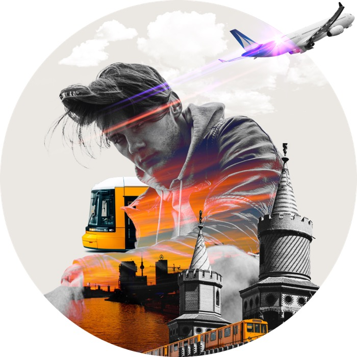 Collage: Arbeiter, Bagger, Flugzeug